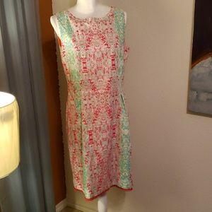 Elie Tahari abstract inkblot inspired modern dress